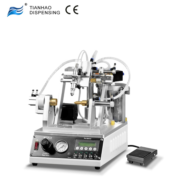 Thread Coating Machine With Valve Dispensing for Per-coating Adhesive